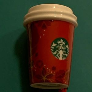 Starbucks Ornament Holiday Xmas 2013 Red Ceramic